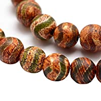 Tibet DZI Achat Buddha Perlen 8mm Natur Effloresce Edelstein Rund Tibetanischer Beads Halbedelstein Edelstein Steinperlen Schmuckperlen Schmuckstein Perle Zum Fädeln für DIY Kette Basteln G744