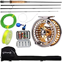 Sougayilang Fly Fishing Rod Reel Combos with Lightweight Portable Fly Rod and CNC-machined Aluminum Alloy Fly Reel,Fly Fishing Complete Starter Package