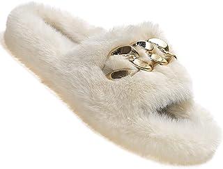 Ckoebas Fluffy Slides Fuzzy Slipper for Women, Comfy Cozy House Sandals, Open Toe Ladies Fur Slipper Slip on Anti Skid Ind...