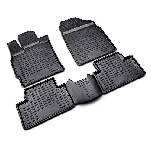 Complete Set Custom Fit Liner | All Weather Performance 3D Molded Black Rubber Floor Mat | FitsMazda CX-7 2007-2012