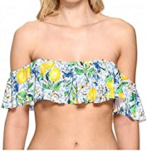 La Blanca Women's Off Shoulder Ruffle Flounce Crop Bikini Swimsuit Top, Blue/Green/Yellow/Limoncello Print, 10
