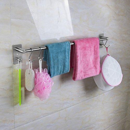 qobobo® Porte-Serviettes Mural en Acier Inox SUS304 Brossé avec une Crochet Pour Salle de Bain WC Barre Ustensile Cuisine 55cm/Perçage ou Auto-adhésif
