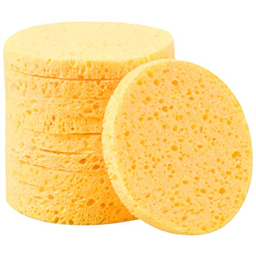 10 Stück Gesicht Reinigungs Schwamm, 8cm Abschminken Schwamm Pads Kosmetik Schwämme, Gesichts Schwamm für Make-Up Entferner Gesichtspflege (Rund, Gelb)