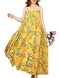 YESNO Women Casual Long Maxi Summer Beach Swing Dresses Empire Waist Sexy Tiered Bohemian Spaghetti Dress XS-5X E100 (L, As Picture120-Yellow)