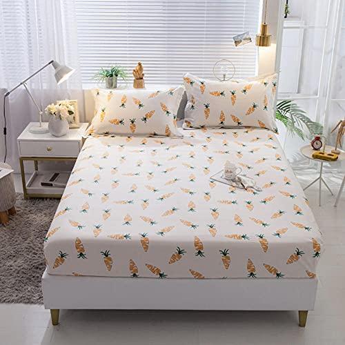 XGguo Protector de colchón Acolchado - Microfibra - Transpirable - Funda para colchon estira hasta Sábana Estampada de una Sola Pieza de algodón-23_120 * 200 + 25cm