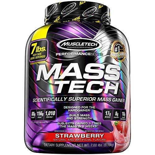 Muscletech Mass Tech Performance, Complemento alimenticio, 3.18 kg, Fresa