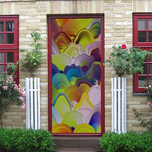 ZANSENG Moderne Kunst 3D Türaufkleber, abstrakte Malvorlage Marmor Textur Muster Vektor Peel und Stick abnehmbare Vinyl Tür Aufkleber für Wohnkultur, 30,3