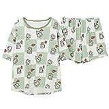 ZHANGNUO Bangtan Boys Cartoon Sleepwear Heart Stripe Print Pyjamas Sets Women Harajuku Pyjamas Women Shirt Nighty Nightwear Set L/Color de Imagen