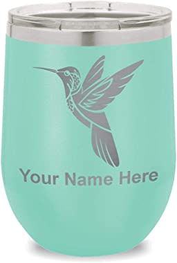 Wine Glass Tumbler, Hummingbird, Personalized Engraving Included (Teal)