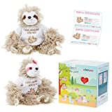 InFLOATables Sloth Stuffed Animal - Adopt 2 Plush Sloth with Removable I Love Hanging with You T-Shirt - Cuddly Plush Sloths - Plush Gift with Birth Certificate - Plush Toys - Cute Birthday Gift