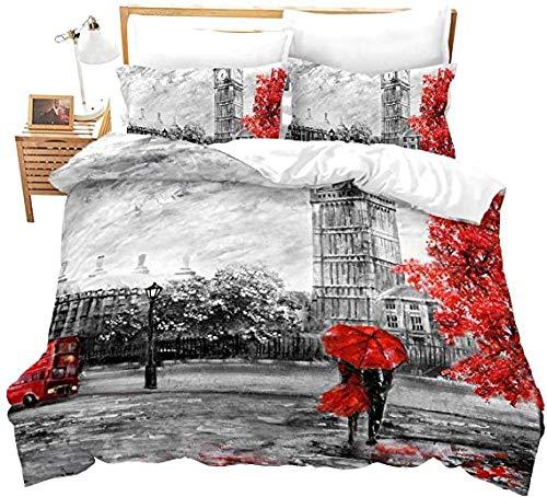 HUA JIE Pareja Funda nórdica Big Ben Decoración Impresa Ropa de Cama para Adultos Juego de edredón London Street View Patrón Floral Rojo 3 Piezas con Lazos de Cremallera
