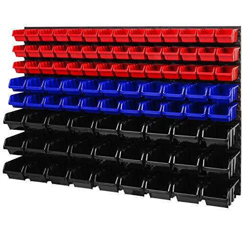 Lagersystem Wandregal – 1158 x 780 mm - Stapelboxen Sichtlagerkästen Schüttenregal – Wandplatten SET mit 3 Arten von Boxen (Rot/Blau/Schwarz)