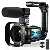 Video Camera Camcorder, 2.7K Ultra HD YouTube Vlogging Camera, 36MP IR Night Vision Digital, 3.0' IPS Touch Screen,16X Digital Zoom Video Camcorder with Microphone Handheld Stabilizer Remote Control
