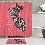 Juego de cortinas y tapetes de ducha de tela,Mapa de dibujos animados de Lima de Perú con todos los símbolos principal,cortinas de baño repelentes al agua con 12 ganchos, alfombras antideslizantes