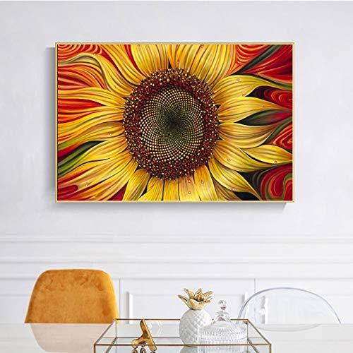 KWzEQ Moderno Mural Floral Abstracto Girasol Dorado para la decoración del hogar de la Sala de Estar,Pintura sin Marco,30x45cm