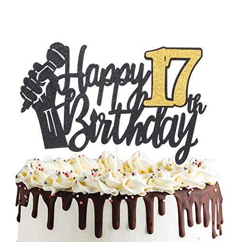 Happy 17th Birthday Cake Topper with Microphone Cheers to 17 Years Old Party Decoration Seventeenth Birthday Cake Decor
