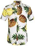 SSLR Herren Hawaiihemd Kurzarm Baumwolle Freizeithemd Ananas 3D Gedruckt Ahloa Shirts (Medium,...