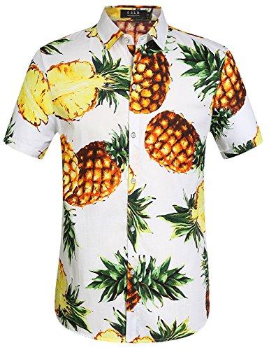 SSLR Hawaii Hemd Männer Herren Hemd Kurzarm Regular Fit Freizeithemden für Herren (Medium, White)