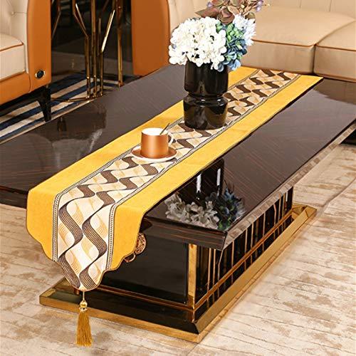 QXbecky Camino de Mesa Geométrico Simple luz Naranja Lujo Alta precisión Mesa de Comedor Mesa de Centro Zapatero Mantel Mueble de TV Mantel Largo de té33x210cm