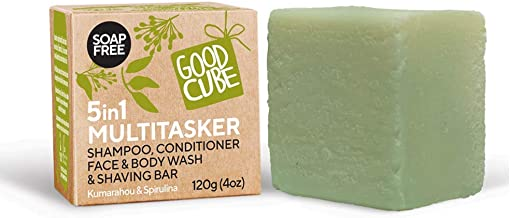 Good Cube 5 in 1 Multitasker Shampoo and Conditioner Bar, Face Cleanser, Shave Bar, Body Wash - For Daily Foaming and Conditioning - pH Balanced and 100% Soap Free - Vegan and Cruelty-Free Bar - 120g