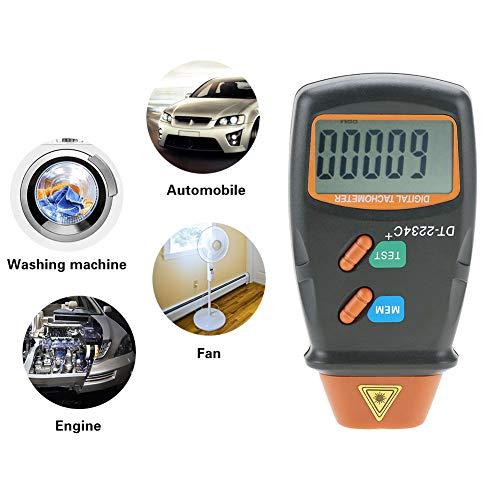 Jectse Digitale toerentalmeter, toerentalmeter met 5-cijferig 18 mm LCD-display, meetbereik van 2,5 omw/min tot 99.999 omw/min, voor motoren, wielen, draaistbank, elektrische ventilator enz.