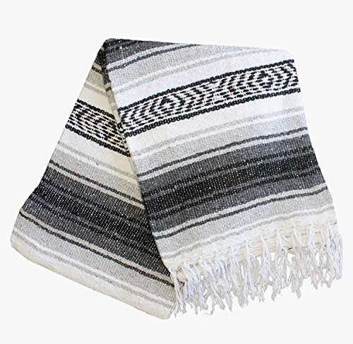 Del Mex Classic Mexican Blanket Vintage Style (Gray)
