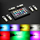 6pcs 194 T10 LED Atmosphere lights, W5W RGB LED Bulbs with Remote Controller RGBW 501 194 168 6SMD 5050...