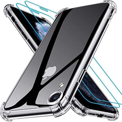 Joyguard Coque Compatible avec iPhone XR avec 2 Verre trempé Protection écran, Souple TPU Silicone Shock-Absorption Protection Coin Housse Compatible avec iPhone XR - 6.1 Pouces - Transparent