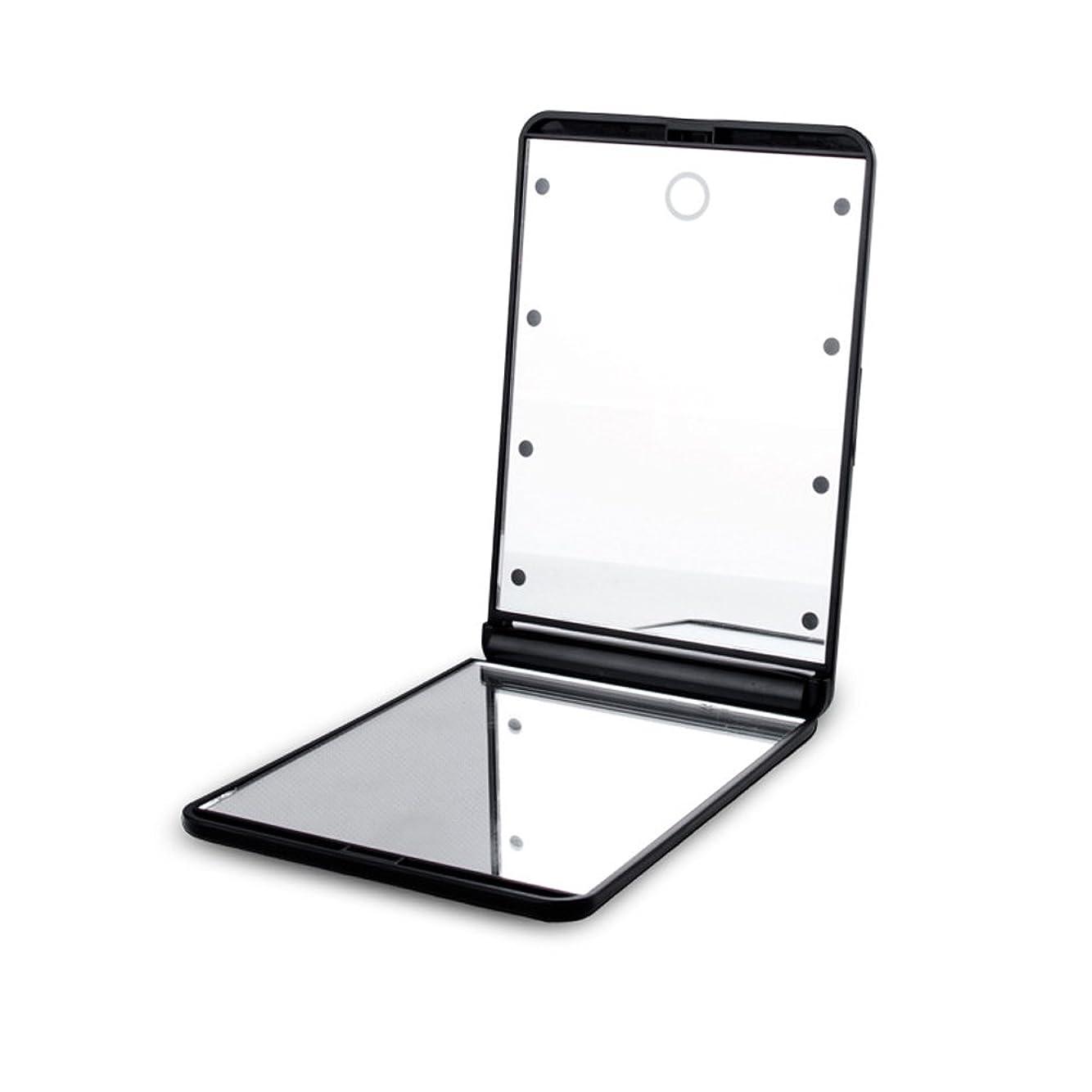 ランチョン終了するペッカディロled化粧鏡 二面鏡 折りたたみ式 LEDライト メイクミラー 明るさ調整 コンパクトミラー 2倍拡大鏡付 ブラック