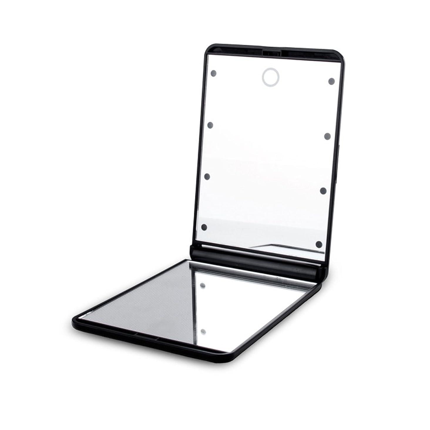 休憩する第五容疑者led化粧鏡 二面鏡 折りたたみ式 LEDライト メイクミラー 明るさ調整 コンパクトミラー 2倍拡大鏡付 ブラック