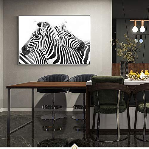 RTCKF Linea in Bianco e Nero Tela murale Zebra Animale Astratto Poster da Parete e Stampa Foto Decorazione della casa (Senza Cornice) A5 60x90cm