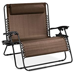 Best Choice Products Folding 2 Person Oversized Zero Gravity Lounge Chair Brown