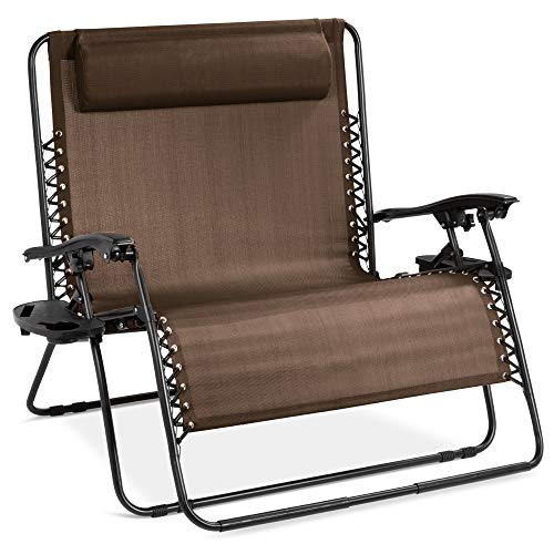 Best Choice Products 2-Person Double Wide Adjustable Folding Steel Mesh Zero Gravity Lounge Recliner Chair for Patio, Lawn, Balcony, Backyard, Beach, Outdoor Sports w/Cup Holders - Brown