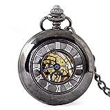 DHRH Reloj de Bolsillo y Cadena Personalizados, Reloj de Bolsillo de Cuarzo Vintage Retro Romano números Romanos Reloj Steampunk para cumpleaños