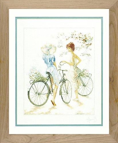 Lanarte - Patrón para Cuadro de Punto de Cruz, 39 x 49 cm, diseño de Mujeres en Bicicleta
