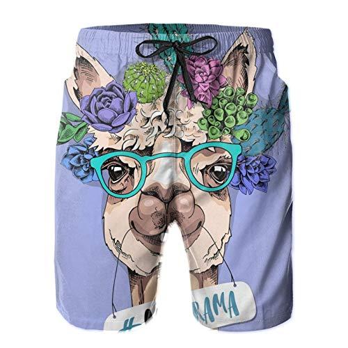 Nixboser Divertida Llama en un verde gafas y con una suculenta y flores de cactus sin drama para hombre corto traje de baño pantalones cortos