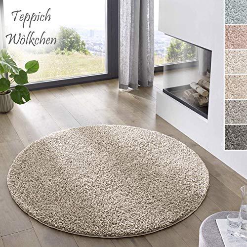 Teppich Wölkchen Shaggy-Teppich | Flauschiger Hochflor für Wohnzimmer, Kinderzimmer oder Flur Läufer | Einfarbig, Schadstoffgeprüft, Allergikergeeignet I Beige - 120 rund
