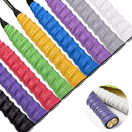 Febbya Tenis Grip, Raqueta Grip 9 Pack Anti Slip Perforado Overgrip Multicolor...