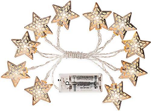 Guirnalda de pila Andrew James–1.35metros de largo–10estrellas plateadas con LED blancas para Ambiance chaleureuse