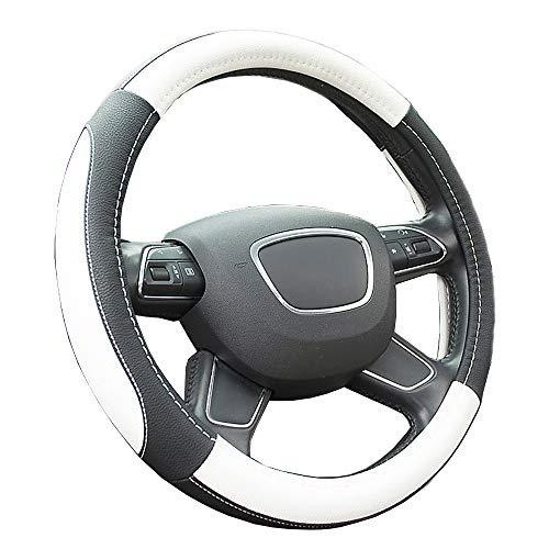 Finoki Auto Universal Anti Rutsch Atmungsaktive Lenkradhülle Lenkradbezug Lenkradschoner aus Mikrofaser-Leder(36-38cm)  (Weiß)