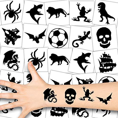 German Trendseller® 12 x Black Shadow Tattoos - Jungs Tattoo Set ┃ Jungs Party┃ für Coole Kerle ┃ Kindergeburtstag ┃ Mitgebsel ┃12 Tattoos