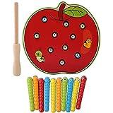 Magnetic Wooden Capture Wurm Spielzeug, Kinder Kinder Baby Angelspiel Puzzle Bunte Früchte Pädagogische Intelligenz Entwicklung Spielzeug(Red Apple)