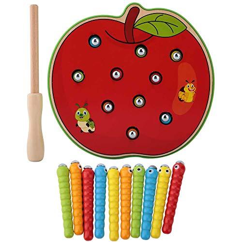 Juguete de gusano de captura de madera magnético, niños, niños, bebé, juego de pesca, rompecabezas, frutas coloridas, juguete educativo para el desarrollo de la inteligencia(manzana roja)