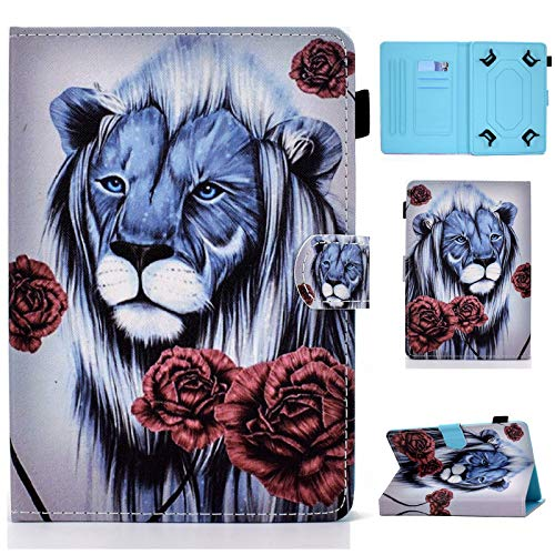 Universal Case for 7 inch Tablet,Cartoon Case for Multi-Angles,Card Slots for iPad Mini,Galaxy Tab A/Tab 4 7.0/Tab 3 Lite,Huawei MediaPad T3 7,Kobo Aura H2O Edition 2,Lenovo Tab 7 Essential (Lion)