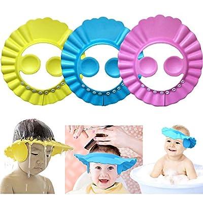 Baby Shower Cap?Kids Shower Cap,Safe Shampoo Shower Bathing Protection,Baby Bath Accessories Bath Visor,Adjustable Visor Hat,for Toddler, Baby, Kids, Children 3 Pcs