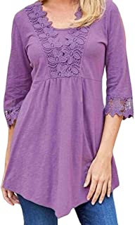 MK988 Womens Stylish Half Sleeve Lace Stitching Solid Color Blouse T-Shirt Top