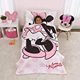 Disney Minnie Mouse - Pink, White & Black 4Piece Toddler Bed Set with Comforter, Fitted Bottom Sheet, Flat Top Sheet & Standard Size Pillowcase, Pink, White, Black