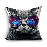 oFloral Galaxy Hipster Cat Theme Throw Pillow Cover Funny Cat Wear Color Sunglasses Rectangle Pillow Case Cushion Cover Standard Size 18'X18'(Two Sides) Gift for Men,Women,Dad,Mom,Sister,Friend