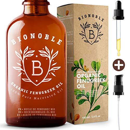 BIONOBLE BIO BOCKSHORNKLEE ÖL | Öl-Mazerat, Bockshornkleesamenextrakt & Sonnenblumenöl | Pumpe, Glaspipette & Flasche | Massageöl | Vitamin E Öl | Brustvergrößerung | Brüste, Hintern (100ml)