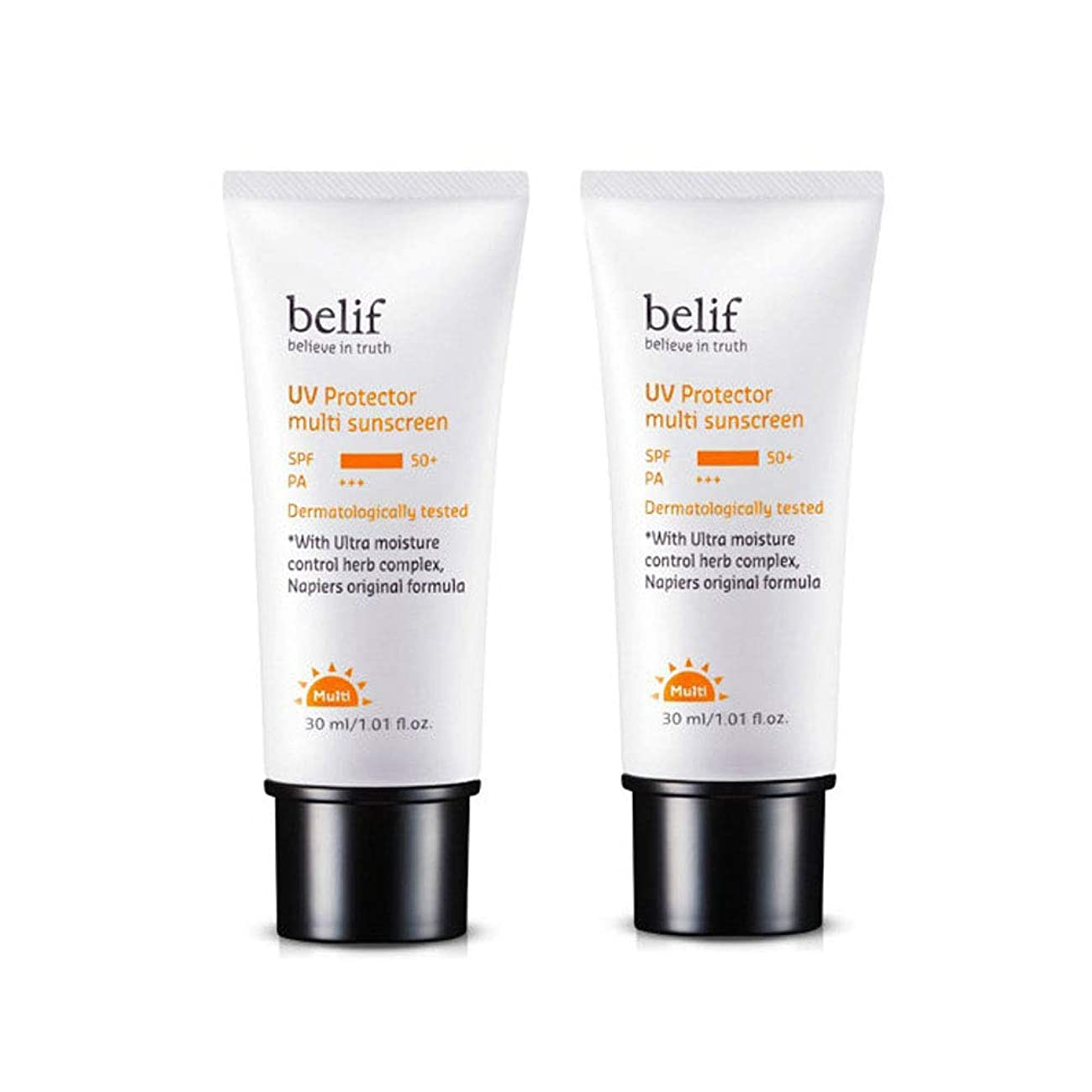 容量で出来ている定規ビリープUVプロテクターマルチサンスクリーンSPF50+/ PA+++ 30mlx2本セットサンクリーム韓国コスメ、belif UV Protector Multi Sunscreen SPF50+ / PA+++ 30ml x 2ea Set Korean Cosmetics [並行輸入品]